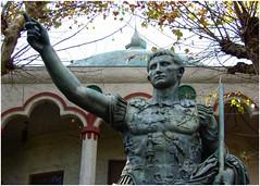 Statue of Caesar Augustus | Rosicrucian Center | San Jose, California | 2007 (steveartist) Tags: photostevefrenkel statueofcaesaraugustus rosicruciancenter sanjose california 2007 trees fallleaves building arches historicfigure statues fujifilmfinepixf20 snapseed