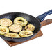 Frying Zucchini and Eggplant in the frying pan