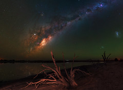Milky Way at Yenyening Lakes - Beverley, Western Australia (inefekt69) Tags: yenyening lakes salt lake dead trees panorama stitched mosaic ms ice milky way cosmology southern hemisphere cosmos western australia dslr long exposure rural night photography nikon stars astronomy space galaxy astrophotography outdoor core great rift ancient sky d5500 landscape nikkor prime beverley wheatbelt reflections 50mm ioptron skytracker hoya red intensifier magellanic clouds large small milkyway airglow