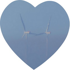 Love in the mist? (Les Fisher) Tags: windfarm windturbines sheringhamshoal justforfun love blue makemesmile