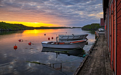 Summer evening, Norway (Vest der ute) Tags: xt20 norway rogaland karmøy sea seascape water landscape boats quay boathouse sky clouds evening sunset reflections fav25 fav200