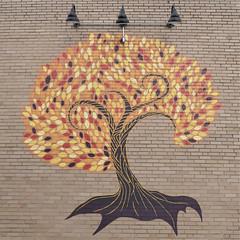 Glen Ellyn, IL, Downtown, Tree Mural (Mary Warren 13.7+ Million Views) Tags: glenellynil downtown brick art mural tree fallfoliage