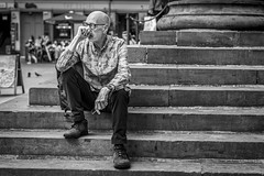 The Thinker (Leanne Boulton) Tags: urban street candid portrait portraiture streetphotography candidstreetphotography candidportrait streetportrait streetlife sociallandscape man male face eyes expression gesture mood posture sitting steps thinking pensive tone texture detail depthoffield bokeh naturallight outdoor light shade city scene human life living humanity society culture lifestyle people canon canon5dmkiii 70mm ef2470mmf28liiusm black white blackwhite bw mono blackandwhite monochrome glasgow scotland uk