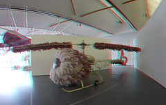 Joana Vasconcelos in Kunsthal Rotterdam 3D (wim hoppenbrouwers) Tags: joanavasconcelos kunsthal rotterdam 3d anaglyph stereo redcyan lilicoptere art kunst gopro