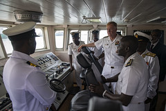 Adm. James G. Foggo III tours the bridge of the Ghanaian navy ship.