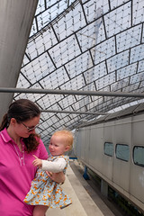 Jodie and Molly (timnutt) Tags: toddler olympiastadion building baby germany city sportsday fujifilm x100 1970s molly olympicpark architecture x100t fuji bavaria venue munchen munich olympics olympicstadium