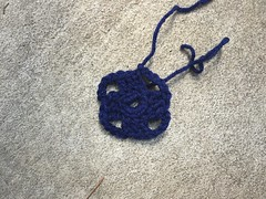 The first two rounds of the Flamboyant Afghan square in navy blue (crochetbug13) Tags: crochet crocheted crocheting crochetsquares grannysquares flamboyantafghan crochetblanket grannysquareblanket crochetafghan grannysquareafghan scrap yarn