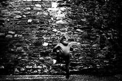 Wall climber (Leica M6) (stefankamert) Tags: film analog analogue grain noiretblanc noir climber wall textures highcontrast leica m6 leicam6 voigtländer voigtlander ultron blackandwhite blackwhite dark people kodak trix stefankamert