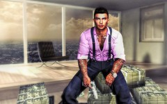 """ Business as Usual "" (maka_kagesl) Tags: secondlife sl second life game virtual photography portrait photo picture pose pic posing painting ps photoshop gun pistol weapon cash money"