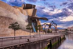 Guggenheim And The Spider (orkomedix) Tags: canon eosr rf24105f4l bilbao spain basque guggenheim museum walk river statue clouds light fantastic architecture trees phototrip