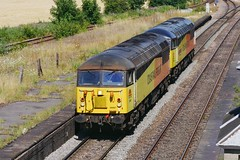 Twins Go for a Rest (JohnGreyTurner) Tags: br rail uk railway train transport diesel engine locomotive brocklesby lincolnshire lincs freight goods 56 class56 grid colas light