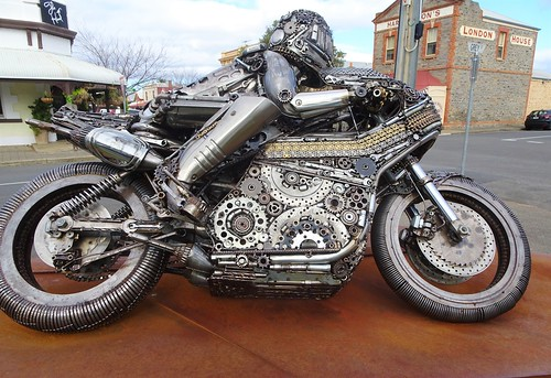 Strathalbyn. Street art. A motorcyclist and his bike in High Street.