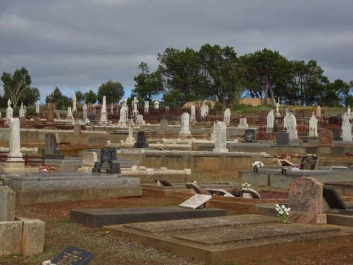 Strathalbyn. A panorama of the cemetery.  This old section of the town cemetery contains the graves and headstones of many early Scottish settlers including the Rankine McLean and other families.