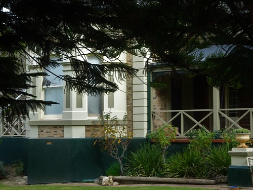 Strathalbyn. A bay window on Water Villa House built in 1849 for flourmill owner and pastoralist David Gollan. The bay windows were added in 1879.