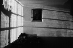Reflections near the window (Gwebur) Tags: film rollei retro400s rodinal nikon fe nikkor 24mmf28ai bw grain light reflection window night