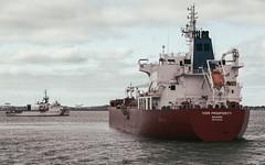 Iver Prosperity Ship in Boston Harbor (Eric Kilby) Tags: bostonharbor ship boat iverprosperity uscg coastguard logan airport plane harbor water nautical