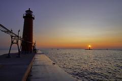Sunset over lighthouse (EricMakPhotography) Tags: lake michigan sunset lighthouse twilight glow usa