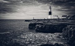 Coastal Tower (RTA Photography) Tags: portlandbill lighthouse mono monochrome blackandwhite blackwhite sea coast coastal seascape nature outdoors rocks cliffs water nikon d750 nikkor 1835 lightroom dorset