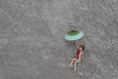Flying with umbrella (piotr_szymanek) Tags: malgosia malgosiat woman outdoor drone fromabove beach sand umbrella face redhead legs feet fq 1k 20f 50f 5k 100f 10k portrait 20k