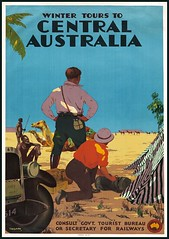 Winter Tours to Central Australia. Vintage Travel Poster by Perc (mpt.1607) Tags: art poster picture image photograph print graphic antiquity vintage bygone old classic historical nostalgic period yesteryear reminiscent archive travel journey trip voyage holiday portrait australia percytrompf australiannationaltravelassociation victoriangovernmentrailway australiangovernmenttouristbureau wintertours centralaustralia aboriginies australiannatives camels vintagecar tent desert sand thedepression c1930