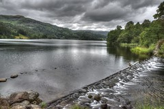 Mouth of the Rothay (vincocamm) Tags: cumbria lake grasmere water sky clouds cloudy trees green rocks reflections englishlakedistrict ducks river weir landscape summer july d5500 nikon