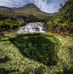 Ionad Dìomhair (SkyeWeasel) Tags: scotland skye highlands burn waterfall pool water mountains landscape river stream green emeraldgreen
