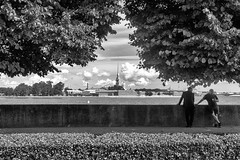 Two in a Shady Square - Двое в тенистом сквере (Valery Parshin) Tags: russia saintpetersburg canoneos600d canonefs24mmf28stm monochrome blackandwhite shadows trees two stpetersburg