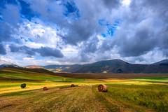 Altopiano di Castelluccio (marypink) Tags: castellucciodinorcia montisibillini umbria summer estate clouds cloudy hills landscape paesaggio haybales nikond800 nikkor1635mmf40