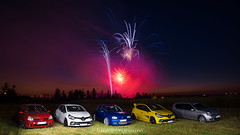 Fireworks with Autobasterds - 04 (JDPhotoIDF) Tags: autobasterds fireworks fire works feu artifice 14 juillet 13 2019 fêtes national saint soupplets 77165 seine et marne ile de france idf renault sport renaultsport clio rs 4 iv 220 trophy rs220 edc 2 rs182 182 phase 3 2rs3 rs3 rs2004 2004 liquidyellow liquid yellow jaune sirius jaunesirius performance rsperformance bodykit rs16 16 volkswagen golf r32 r 32 vw
