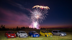 Fireworks with Autobasterds - 02 (JDPhotoIDF) Tags: autobasterds fireworks fire works feu artifice 14 juillet 13 2019 fêtes national saint soupplets 77165 seine et marne ile de france idf renault sport renaultsport clio rs 4 iv 220 trophy rs220 edc 2 rs182 182 phase 3 2rs3 rs3 rs2004 2004 liquidyellow liquid yellow jaune sirius jaunesirius performance rsperformance bodykit rs16 16 volkswagen golf r32 r 32 vw