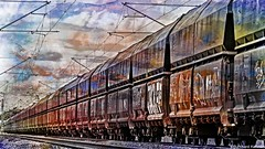Long train (b_kohnert) Tags: zug train painting freightwagons freighttrain eisenbahnstrecke eisenbahn digitalpainting digitalart detailtrain bahntechnik bahnlandschaft bahngleise bahnabstrakt bahn abstraktart