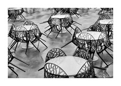 Sometimes, it rains (PeteZab) Tags: chairs rain wet vacant water reflection blackandwhite bw mono peterzabulis