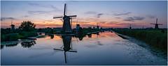 Pano at Kinderdijk after a hot summerday (Rob Schop) Tags: hdrpanorama panorama kinderdijk alblasserdam zuidholland sigma30mm14 sonya6000 bluehour glow wimboon bracket hdr reflection unesco windmill