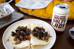 0712 Brisket tacos and Blood Orange Imperial Salty Lady (thebradholt) Tags: martinhouse project365 beans beer blackbeans brisket can plate tacos tortillas