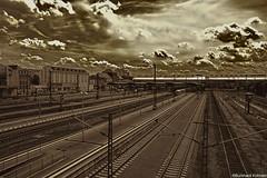 Railway station Darmstadt (b_kohnert) Tags: abstraktart bahnabstrakt bahngleise bahnhof bahnsteig clouds digitalart digitalpainting eisenbahnstrecke germany railway railwayline railwaystation train zug