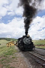Cumbres & Toltec arrivals (Laurence's Pictures) Tags: cumbres toltec steam railroad drgw denver rio grande western narrow guage locomotive new mexico chama colorodo preservation train rail railway freight tourist sightseeing drg