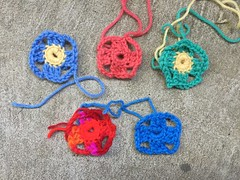 Five two-round squares (crochetbug13) Tags: crochet crocheted crocheting crochetsquares grannysquares flamboyantafghan crochetblanket grannysquareblanket crochetafghan grannysquareafghan