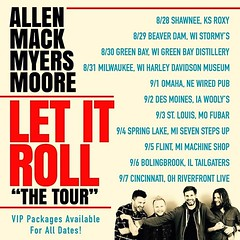 "Via @ammmofficial: Well..... we've only been asked about it for 2 years .... Here are the first dates for the ""Let it Roll"" North American Tour Shawnee, KS Beaver Dam, WI Green Bay, WI Milwaukee, WI Omaha, NE Des Moines, IA St Louis, MO Spring Lake, MI Fl (AllenMackMyersMooreNation) Tags: allen mack myers moore ammm"