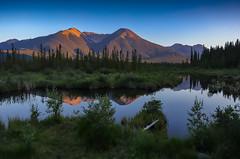 Vermillion scene (Robert Grove 2) Tags: banff sunsetting lake mountains canada green reflections alberta summer