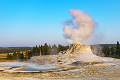 Geyser (ValeTer_) Tags: geyser sky geology tree national park types volcanic eruptions landscape hot spring vacation rock nikon d7500 usa wy wyoming yellowstone nps nikond7500 nature nationalpark yellowstonenationalpark