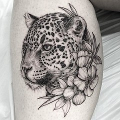Jaguar and flowers for April. Happy Birthday! 🎉 🐆 . .. ... .. . .. #eyeofjadetattoo #eyeofjade #jeremygolden #jeremy_golden #jeremygoldentattoo #blackwork #blackworkerssubmission #darkartists #blacktattoomag #blacktattooart #btattooing #onlyb