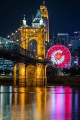Cincinnati hypnotized my daddy (sniggie) Tags: cincinnati ferriswheel ohioriver roeblingbridge spinningwheel