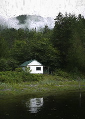 A Cabin in the Woods (Mr.LeeCP) Tags: cabin home reflection clouds green forest trees britishcolumbia