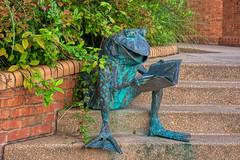 Frog Reading at the Library (JavaJoba) Tags: smyrna georgia unitedstatesofamerica streetstatues frog book plants brick steps bronze l lightroom aurorahdr hdr