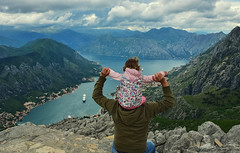 Little Explorer (free3yourmind) Tags: baby girl explore explorer kotor montenegro view panoramic panorama clouds cloudy edge dad father family travel