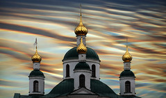 Volga Symphony (HWHawerkamp) Tags: architecture outdoors no people church religion city famous place travel destinations dome spirituality sky creative edit volga russia uglitzsch colours abstract graphics