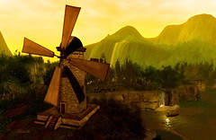 The giant (Ladmilla) Tags: sl seconlife art digital digitalart landscape windmill mountains sea water boat waterfall saddlescanyoncountryretreat