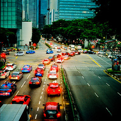 Traffics during twilight in Singapore (Thanathip Moolvong) Tags: hasselblad 501 cm lomography 800 negative film