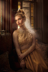 Window Light ({jessica drossin}) Tags: jessicadrossin portrait woman window female dress sequins face glass yellow