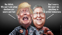 The Dastardly Duo (DonkeyHotey) Tags: donaldtrump mitchmcconnell electionsecurity gop republicans russians donkeyhotey photoshop caricature cartoon face politics political photo manipulation photomanipulation commentary politicalcommentary campaign politician caricatura karikatuur karikatur